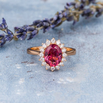 7x9mm Oval Cut Pink Tourmaline Rose Gold Engagement Ring