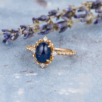 6x8mm Antique Lab Created Cabochon Sapphire Engagement Ring