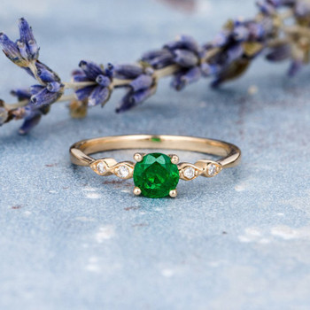 5mm Round Cut Natural Emerald Art Deco Dainty Mini Wedding Ring