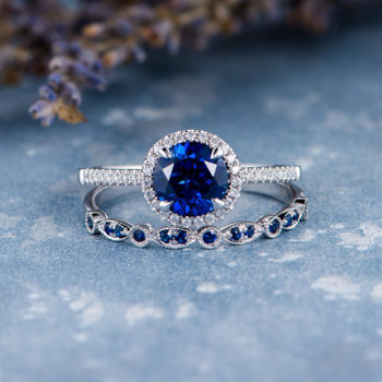 7mm Round Lab Sapphire Art Deco Wedding Band  Bridal Set