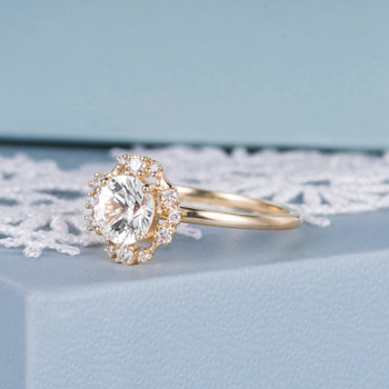 6mm Round Cut White Sapphire Engagement Ring Yellow Gold Wedding Ring
