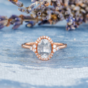 6*8mm Oval Cut White Sapphire Engagement Ring Rose Gold Wedding Ring