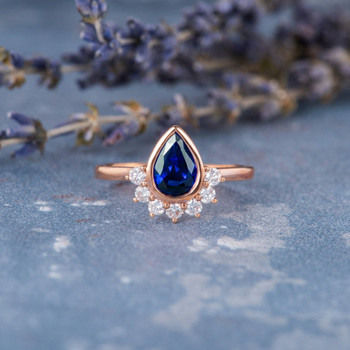 5*7mm Pear Shaped Lab Sapphire Ring Bezel Set Engagement Ring