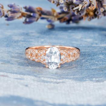 5*7mm Oval Cut White Sapphire Art Deco Braided Grain Wheat Wedding Ring