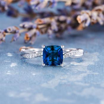 6mm Cushion Lab Sapphire Solitaire Diamond  Eternity Engagement Ring