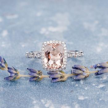Art Deco 7*9mm Cushion Cut Morganite Promise Ring