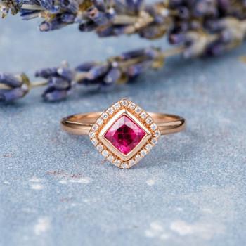 5mm Cushion Cut Pink Tourmaline Rose Gold Engagement Ring