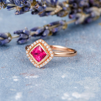 5mm Cushion Cut Pink Tourmaline Rose Gold Engagement Ring
