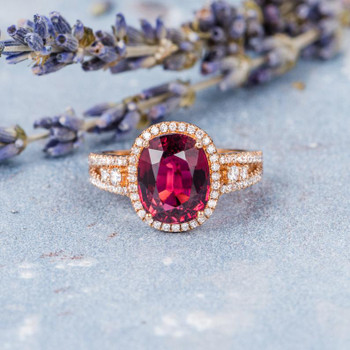8*10mm Oval Cut Pink Tourmaline Rose Gold Engagement Ring