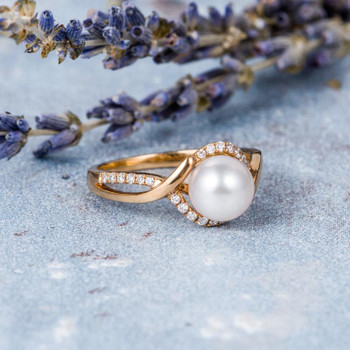 Unique Akoya Pearl Engagement Ring 7mm Natural Seawater Pearl Ring