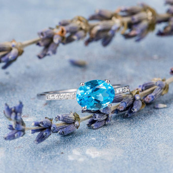 Horizontally Set  Blue Topaz Diamond  Engagement Ring