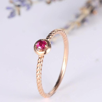 Solitaire Engagement Ring Rose Gold Ruby Birthstone Ring