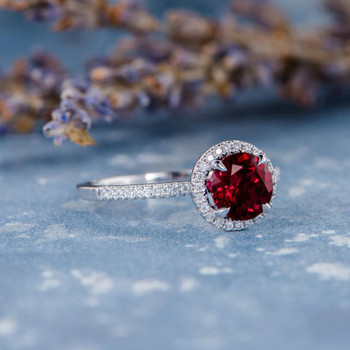 7mm Round Cut Lab Ruby Halo Thin BandEngagement Ring