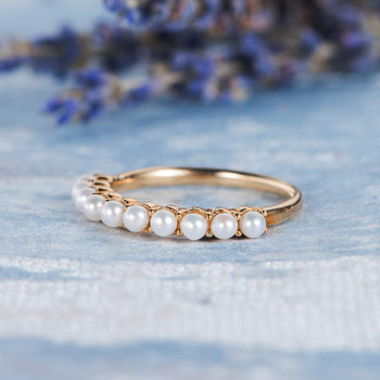 Akoya Pearl Wedding Band Yellow Gold Half Eternity Wedding Ring
