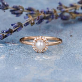 Akoya Pearl Engagement Ring Diamond Halo Plain Band