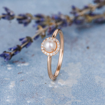 Akoya Pearl Engagement Ring Diamond Halo Plain Band