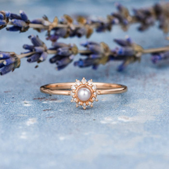 Mini  Akoya Pearl Engagement Ring Diamond Halo Plain Band