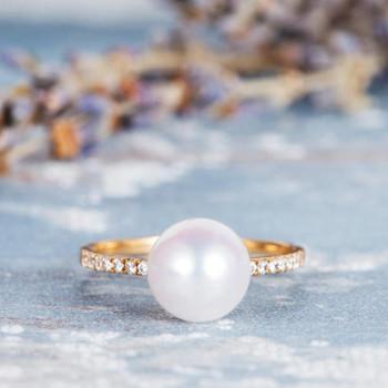 Akoya Pearl Engagement Ring  Diamond Half Eternity Wedding Ring