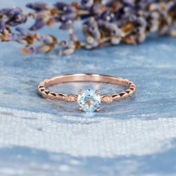 Antique Aquamarine  Leaf Eternity Band Solitaire Delicate Engagement Ring