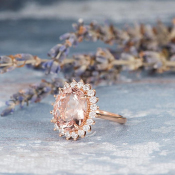 10*12mm Oval  Morganite Diamond Halo Antique Rose Gold Engagement Ring