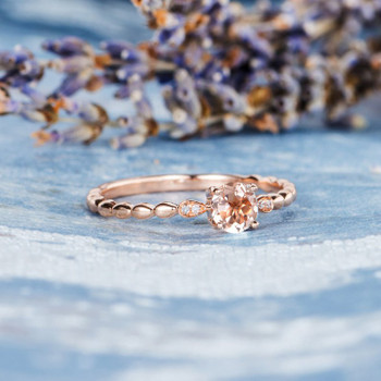 5mm Morganite Ring Rose Gold Antique Leaf Band Birthday Gift