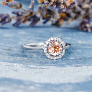 Morganite Engagement Ring Diamond Halo White Gold Plain Band