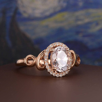 6*8mm Oval  Morganite Diamond Halo Antique Rose Gold Engagement Ring
