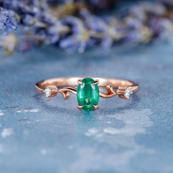 Antique Natural Emerald Ring Oval Cut Engagement Ring
