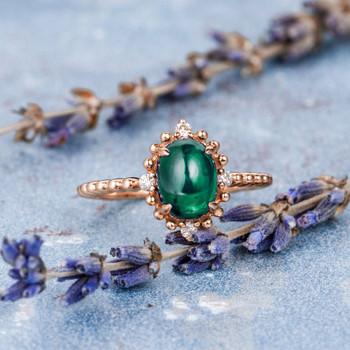 Antique Engagement Ring Lab Emerald Ring Unique Beaded Ring