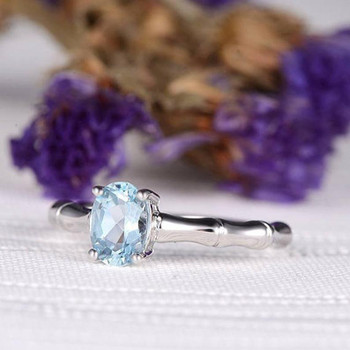 Oval Cut Engagement Ring Aquamarine Ring Birthstone Wedding Ring