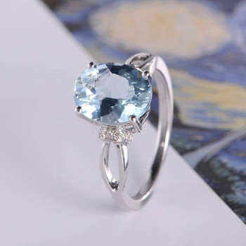 Aquamarine Engagement Ring White Gold Oval Cut Antique  Unique Split Shank