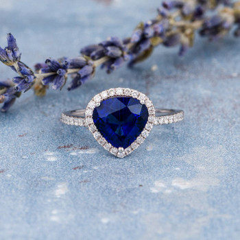 White Gold8*9mm Pear Shaped Lab Sapphire Ring Antique Engagement Ring