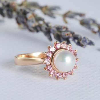 Pearl Engagement Ring Rose Gold Wedding Halo Pink Tourmaline
