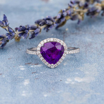 8x9mm Pear Shaped Amethyst Engagement Ring White Gold Birthstone Ring