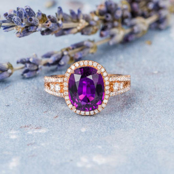 8*10mm Oval Amethyst Diamond Halo Wedding Ring