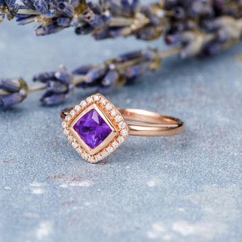 Princess Cut Amethyst Ring Rose Gold Engagement Ring
