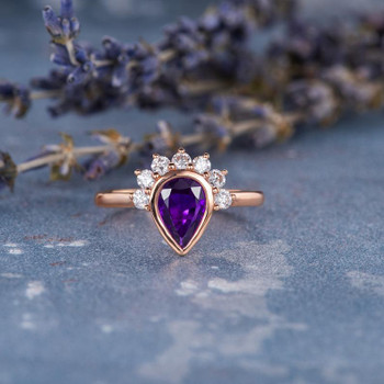 5x7mm Pear Shaped Amethyst Engagement Ring Rose Gold