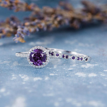 7mm Round Amethyst Engagement Ring February Birthstone 2pcs