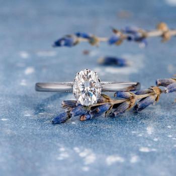 5*7mm White Gold Oval Cut Moissanite Flower For Women Ring