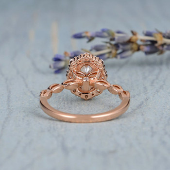 5*7 Oval Cut Moissanite Engagement Rose Gold Cluster Halo Art Deco Ring