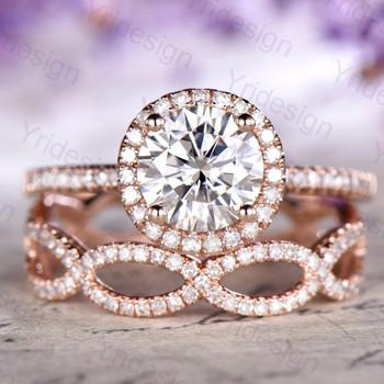 7mm Moissanite Ring Set Rose Gold Diamond Matching Wedding Band