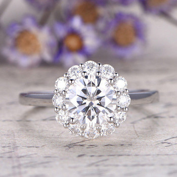 7mm Round Cut Moissanite Engagement White gold Ring Diamonds Ring