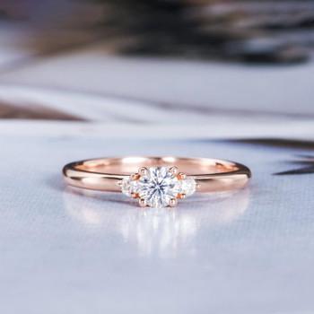 Three Stone Round Moissanite Engagement Rose Gold Wedding Ring