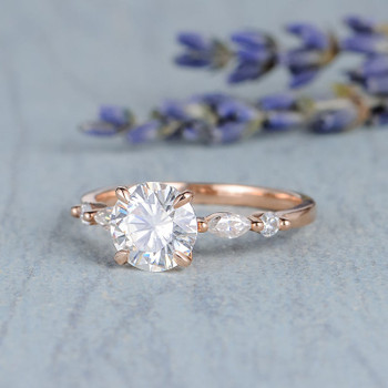 7mm Round Moissanite Engagement Bridal Rose Gold Solitaire Ring