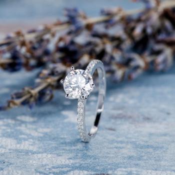 6.5mm Round Moissanite Engagement Ring White Gold Flower Setting Ring