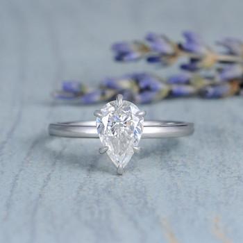 6*9mm Pear Shaped Moissanite Engagement  White Gold Ring