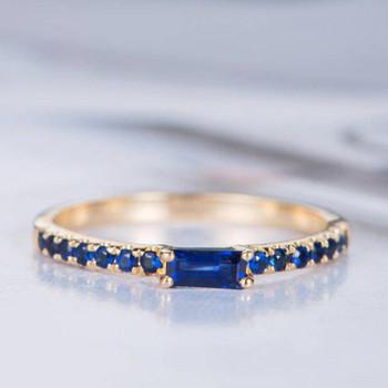 Baguette Cut Lab Sapphire Ring Yellow Gold Engagement Wedding Ring