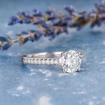 7mm Round Cut Moissanite Engagement  White Gold Wedding Ring
