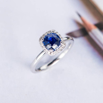 Natural Sapphire Engagement Ring White Gold Diamond Wedding Ring
