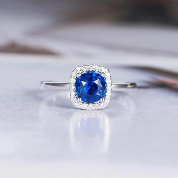 Natural Sapphire Engagement Ring White Gold Diamond Wedding Ring